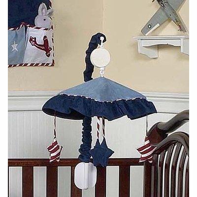 Sweet Jojo Designs Red, White & Blue Vintage Aviator Musical Baby Crib Mobile