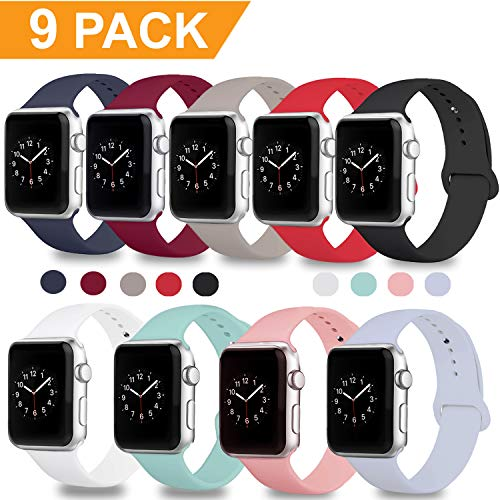 DOBSTFY Compatible for Apple Watch Sport Band 38mm 42mm, Soft Silicone Replacement iWatch Bands Strap Sport Band Compatible for Apple Watch Series 3 2 1 Nike+ Edition, S/M M/L, 9PACK, 38mm S/M