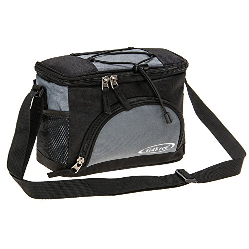G4Free 5-6 Can Lunch Bag Soft Cooler Bag with Leakproof Foil Lining Keep Cool or Warm For Camping School Kids Outdoor Activities Family Picnics(Black-grey) (Drink Cooler Soft)