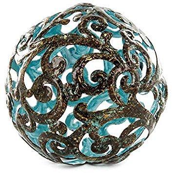 Blue Fancy Metal Decorative Sphere -