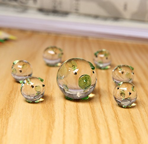 Hoobar Crystal Pig Figurine Mini Animal Collectible Statue Perfet for Mini Fairly Garden and Decoration Set of 7 (Green)