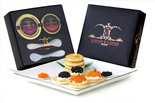 GUARANTEED OVERNIGHT! C&C Gourmet Caviar Gift Basket - 1oz Siberian Osetra - 2oz Fresh French TroutFREE 2 Mother of Pearl Spoons (Russian Caviar)