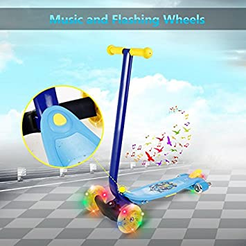 3 Wheel Big Side Kick Scooter Pro with LED Light Up Wheels and Music Kick Scooter Glider for Child Kids Boys Girls US STOCK