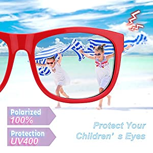 RIVBOS Rubber Kids Polarized Sunglasses With Strap Glasses Shades for Boys Girls Baby and Children Age 3-10 RBK023