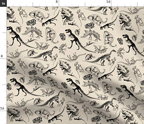 (Spoonflower Dinosaur Fabric - Dinosaurs On Cream Vintage Skeletons Skeltons Jurassic Dino T Rex Animal Bone Print on Fabric by The Yard - Fleece for Sewing Blankets Loungewear and No-Sew Projects)