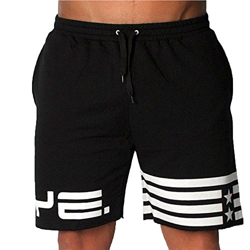 Star Youth Baseball Pants - FarJing Hot Sale Men Flag Stars Sporting Beaching Bodybuilding Sweatpants Short Jogger Gyms Short (XL,Black )