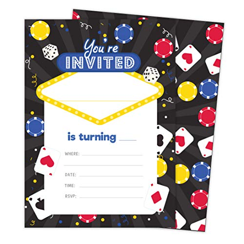 Casino 2 Invitations (25 ct.) Invite Cards Happy Birthday Invitations Invite Cards With Envelopes and Seal Stickers Vinyl Girls Boys Kids Party (25ct) -