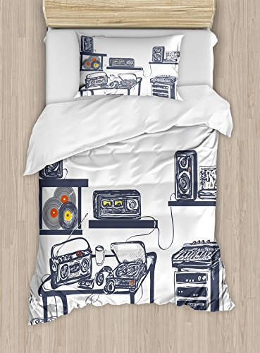 Price comparison product image Ambesonne Modern Duvet Cover Set Twin Size, Recording Studio with Music Devices Turntable Records Speakers Digital Illustration, Decorative 2 Piece Bedding Set with 1 Pillow Sham, Cadet Blue