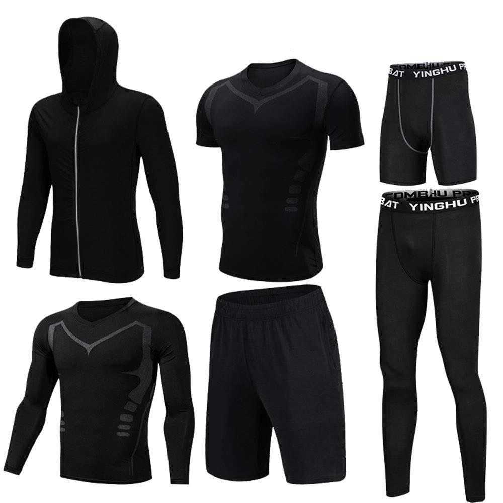 Gym Wear Fitness Bekleidung Set Herren-Sportkleidung-Sets 6-teilige Sets mit Outwear, langärmliges Kompressionshemd, eng anliegende Kompressionshose, kurzärmliges Kompressionshemd, lose Shorts, eng an