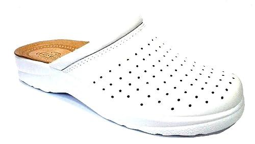 assolutamente alla moda tecniche moderne super popolare EASY WALK Ciabatte SANITARIE Uomo MOD 637 Bianco Vera Pelle ...