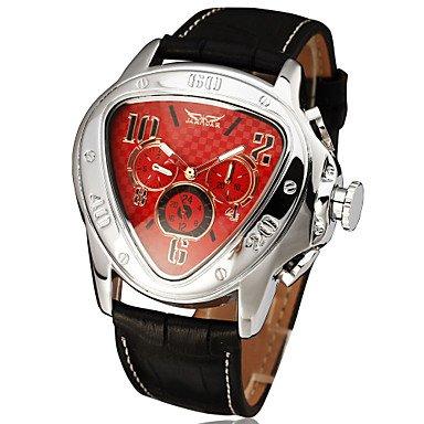 Herrklockor, herr triangel stil automatisk mekanisk Tourbillon läderband klocka Röd