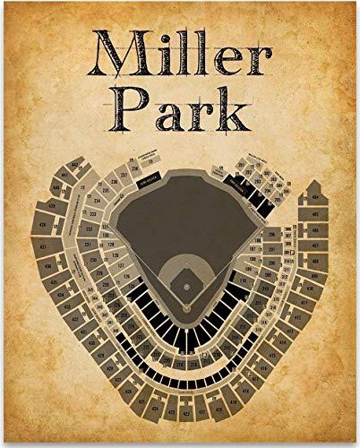 (Miller Park Stadium Baseball Seating Chart - 11x14 Unframed Art Print - Great Sports Bar Decor and Gift Under $15 for Baseball Fans)