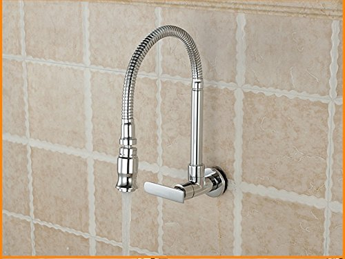 WINZSC Piscina de fregona, lavadero, pileta, fregadero de la cocina, frigorí fico, lavabo, grifo, todo cobre, tubo universal, grifo empotrado en la pared frigorífico