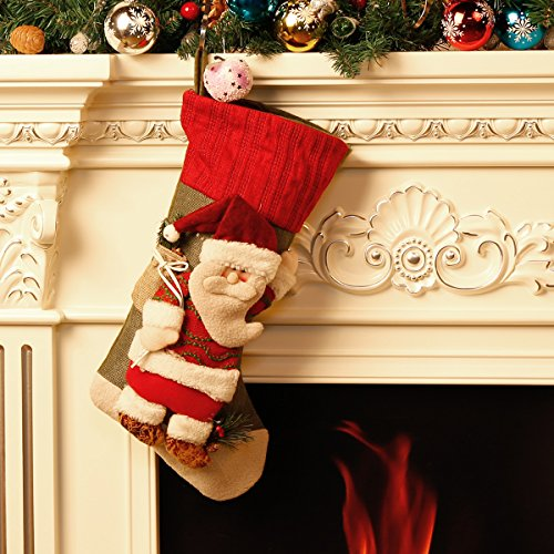 Classic Festive Decor Christmas Stockings 3D Cute Cartoon Santa Claus Stocking