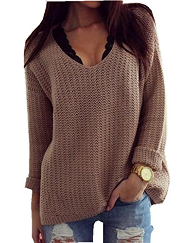 Womens Basic deep V Neck Fine Knit Cardigan (S, Khaki) (Basic Fine Knit)
