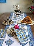 Saffron Marigold Casablanca ~ Moroccan Theme Style White Quatrefoil Print Napkins