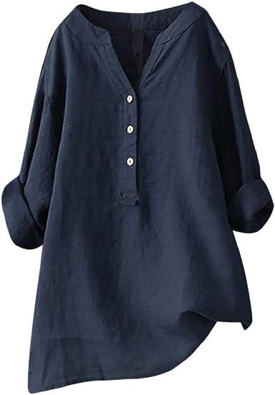 Camisetas Mujer Tallas Grandes Heavy SHOBDW Camisa De Manga Larga con Cuello Alto Blusa Casual Botones con Botones Túnica Suelta Camiseta Solid para Mujer: Amazon.es: Ropa y accesorios