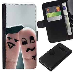 JackGot ( Finger divertente coppia ) Samsung Galaxy Core Prime la tarjeta de Crédito Slots PU Funda de cuero Monedero caso cubierta de piel