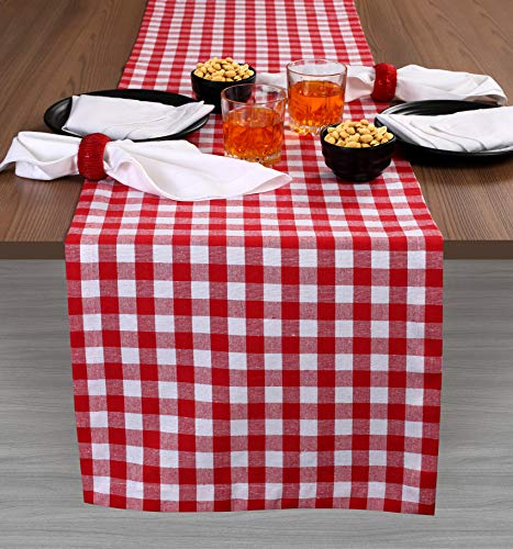 Cotton Gingham Check Plaid Table Runner for Family Dinners or Gatherings, Indoor or Outdoor Parties, Everyday Use, Wedding Table Runner- 16x108 inches, Red White Checks, Set of 2 ()