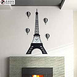 Quietness @ Modern Colorful Creative Silent Non-ticking Wall Clock At the Eiffel Tower in Paris /20 inch/ black