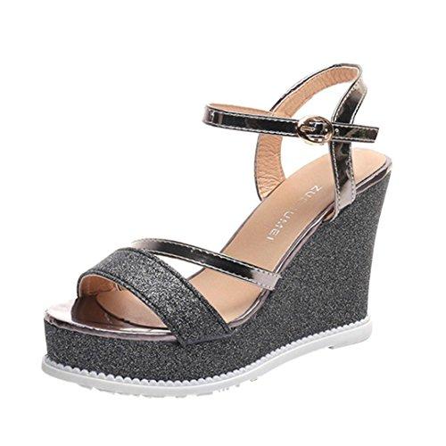 Colorful TM Ladies Women Wedges Shoes Summer Sandals Platform Toe High-Heeled Sandals Shoes Black FzYMbWQR