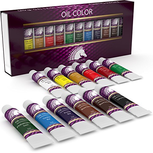 Oil Paint Set - 21ml x 12 - Oil-Based Paints in Tubes - Artists Quality Art Colors - Professional Painting Supplies - MyArtscape