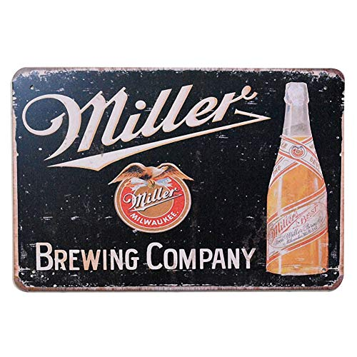 PEI's Miller Brewing Company Retro Vintage Beer Liquor Tin Metal Sign, Wall Decor for Home Garage Bar Man Cave, ()