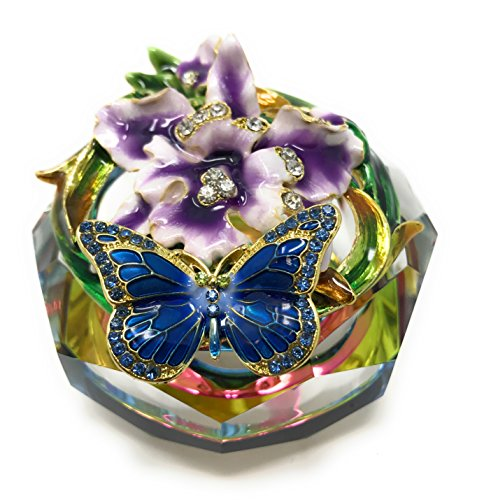 (Kubla Craft Enameled Blue Butterfly and Purple Flowers with Cut Glass Trinket Box, Accented with Austrian)