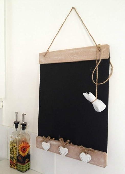 Memo legno Lavagna stile shabby Vintage lavagna cucina Message Board Tre  Cuori Bianchi