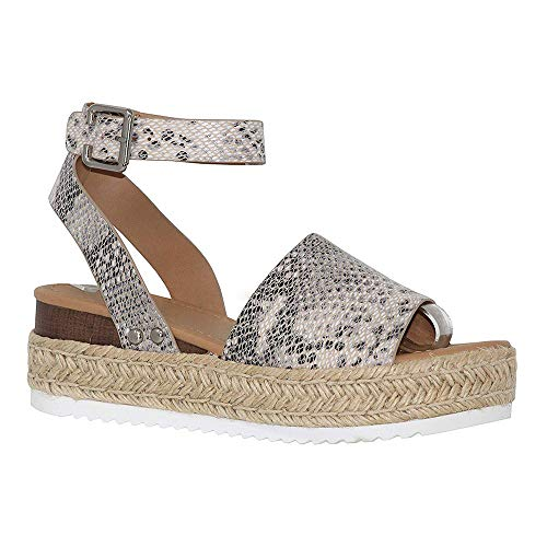 Womens Casual Platform Sandals Espadrilles Cork Studded Buckle Ankle Strap Wedge Summer Shoes Snake 10