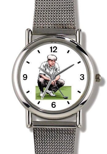Ladies Woods Tiger Watch (Golfer Kneeling Sizing up the Putt - Golf Theme - WATCHBUDDY ELITE Chrome-Plated Metal Alloy Watch with Metal Mesh Strap-Size-Large ( Men's Size or Jumbo Women's Size ))