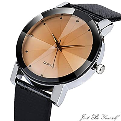 Gloous, Luxury Quartz Sport Military Stainless Steel Dial Leather Band Wrist Watch Men