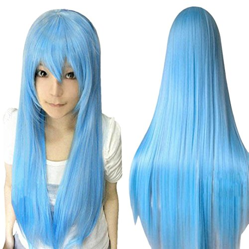 Price comparison product image Wig,Baomabao 80CM Long Straight Cosplay Wig Multicolor Heat Resistant Full Wigs (Blue)