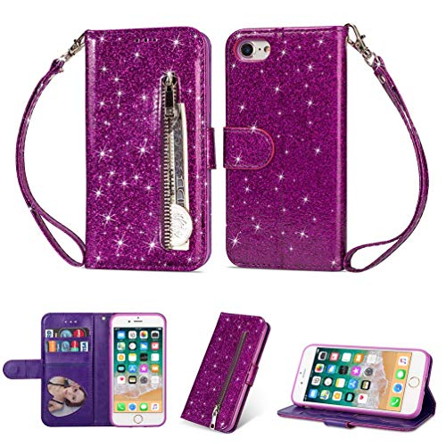 Spritech iPhone XR Case,iPhone XR Wallet Case,Bookstyle Bling PU Leather Flip Folio Magnetic Purse Pockets Card Slots Wrist Strap with Screen Protector and Stylus for Apple iPhone XR 6.1-Inch