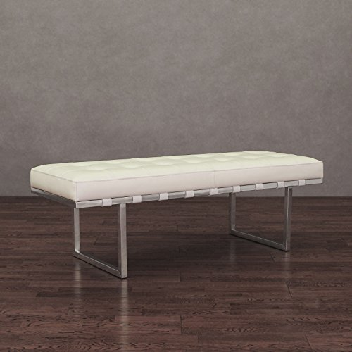 Metro Shop Andalucía White and Stainless Steel Modern Leather Button-tufted Bench