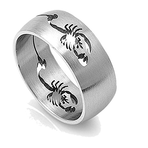 (Double Accent 9MM Stainless Steel Matte Finish Scorpion Ring Wedding Band (Size 9 to 13), 11)