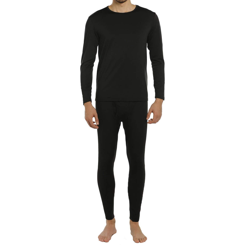 ViCherub Men's Thermal Underwear Set Fleece Lined Long Johns Winter Base Layer Top & Bottom 1 or 2 Sets for Men Black by ViCherub