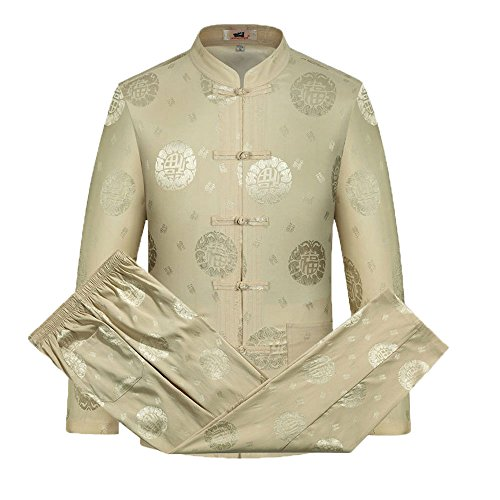 Tang Suit Men Traditional Chinese Clothing Suits Hanfu Cotton Short sleeve shirt coat Mens Tops and pants (XL, Beige) by Airuisky