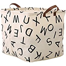 FUNNYGO Square Storage Bin ,Ramie Cotton/ Canvas Fabric Folding Storage Basket With Handles- Toy Box/ Toy Storage/ Toy Organizer for Boys and Girls - Laundry Basket/ Nursery Hamper (Square alphabet)