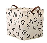 Square Storage Bin ,Ramie Cotton/ Canvas Fabric Folding Storage Basket With Handles- Toy Box/ Toy Storage/ Toy Organizer for Boys and Girls - Laundry Basket/ Nursery Hamper (Square alphabet)