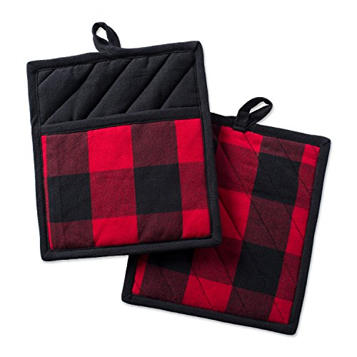 DII Cotton Buffalo Check Plaid Pot Holders with pocket, 98