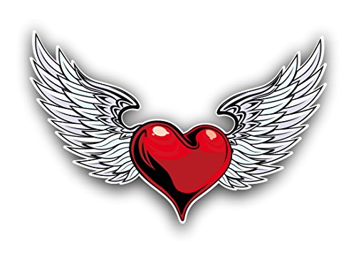 Heart and Angel Wings Car truck window laptop sticker decal by vinyl junkie graphics (Window Wing)