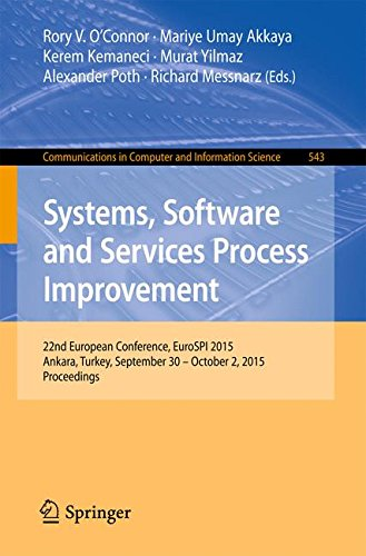 Systems, Software and Services Process Improvement: 22nd European Conference, EuroSPI 2015, Ankara, Turkey, September 30 -- October 2, 2015. ... in Computer and Information Science