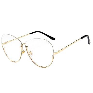 AiSi Damen Rund Metall klassische Brille, Brillenfassung, Aviator Vintage Brille, Dekobrillen, Retro-60er Jahre Stil, Metallgestell schwarz, ohne Stärke