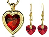 Gold Plated Red Heart Jewelry Set I Love You Necklace 120 Languages CZ Inscribed and Crystal Earrings