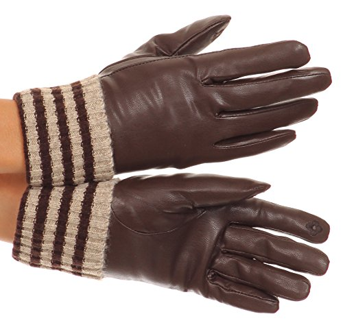Sakkas CMZ1523 - Oda Warm Striped Wool Cuff Winter Touch Screen Wrist Length Gloves - Chocolate - ()