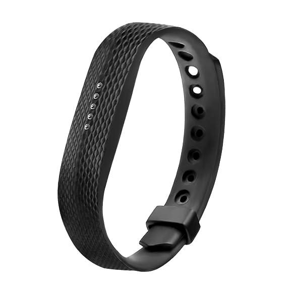 para Fitbit flex reemplazo 2 banda pulsera pulsera correa de caucho de silicona TPU negro (