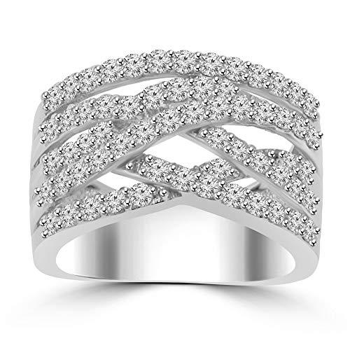 (1.53 ct Ladies Round Cut Diamond Designer Anniversary Band G Color SI-1 Clarity in Platinum In Size 8.5 )