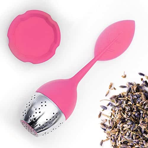 Teami Blends Leaf Infuser - Stainless Steel with Silicone Handle. Brew a Cleaner, Smoother Infused Cup of Tea. (1, Pink)