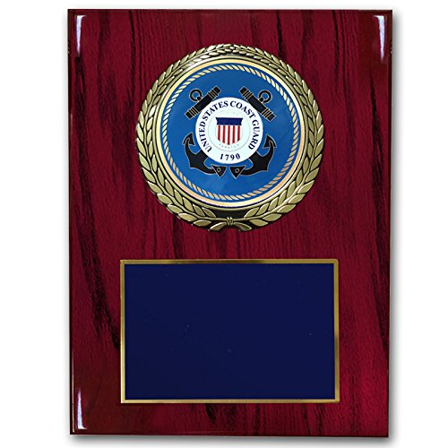 Customizable 9 x 12 Inch Cherry Piano Finish Plaque with U.S Coast Guard Medallion, Includes - Cherry Medallion Finish